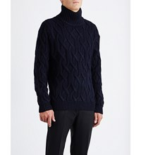 Sandro Mont Knitted Turtleneck Jumper Blue Green