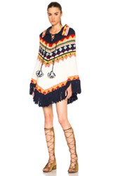 Saint Laurent Fair Isle Jacquard Poncho In Abstract Geometric Print White