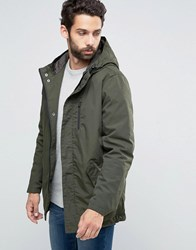 Only And Sons Quilted Parka With Fishtail Forest Night Green