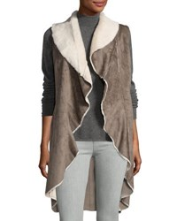 Neiman Marcus Faux Shearling Open Front Long Vest Taupe