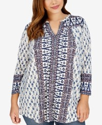 Lucky Brand Plus Size Geo Print Peasant Tunic Shirt Natural Multi