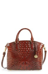 Brahmin 'Medium Duxbury' Croc Embossed Leather Satchel Brown Pecan