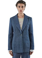Lana Siberie Striped Gangster Suit Jacket Blue