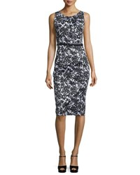 Michael Kors Floral Print Stretch Cotton Sheath Dress Black White