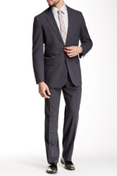 Brooks Brothers Grey Sharkskin Two Button Notch Lapel Wool Blend Suit Gray
