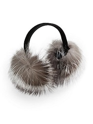 Saks Fifth Avenue Fox Fur Earmuffs Blue Frost