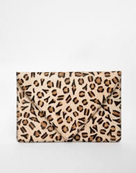 Asos Leather Clutch Bag In Leopard Pony Effect Multi