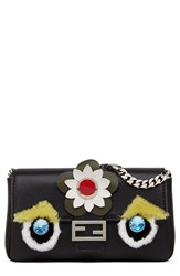 Fendi 'Monster' Leather And Genuine Rabbit Fur Micro Baguette Black