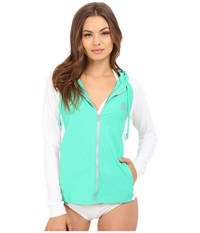 O'neill Tech Long Sleeve Zip Hoodie Seaglass White Women's Sweatshirt Blue
