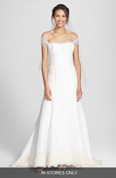 Olia Zavozina Women's 'Savannah' Removable Illusion Halter Lace Trim Silk Shantung Gown Ivory