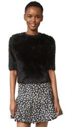 Carven Short Sleeve Fuzzy Sweater Noir