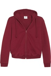 Vetements Cropped Embroidered Cotton Blend Hooded Sweatshirt Claret