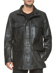 Marc New York Brimfield Long Sleeve Leather Jacket Black