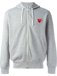 Comme Des Garcons Play Embroidered Heart Hoodie Grey