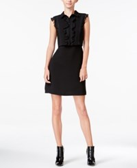 Maison Jules Ruffled Lace Inset Popover Dress Only At Macy's Deep Black