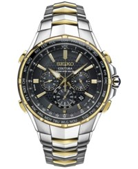 Seiko Men's Coutura Radio Sync Solar Chronograph Two Tone Stainless Steel Bracelet Watch 45Mm Ssg010 Two Tone