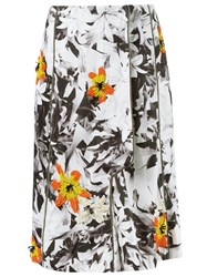 Isabela Capeto Floral Embroidery Flare Skirt White
