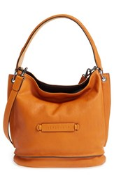 Longchamp '3D' Leather Crossbody Hobo Orange Saffron