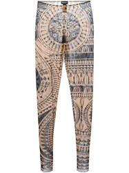 Dsquared2 Sheer Printed Leggings Nude And Neutrals