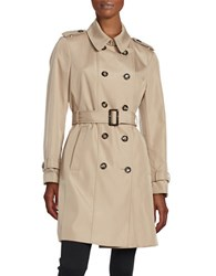 Calvin Klein Petite Button Front Trench Coat Beige