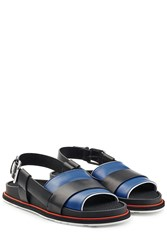 Jil Sander Colorblock Leather Sandals With Buckled Back Strap Multicolor