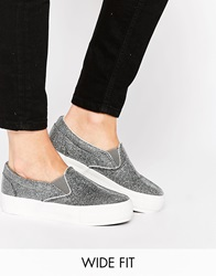 New Look Wide Fit Flatform Slip On Trainers Silver