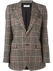 Saint Laurent Oversize Tweed Blazer Brown