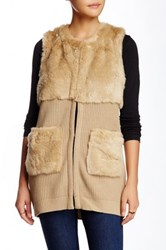 Fate Faux Fur Sweater Vest Beige