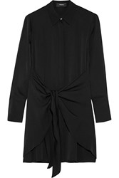 Theory Talbilla Knotted Silk Crepe De Chine Shirt Dress Black