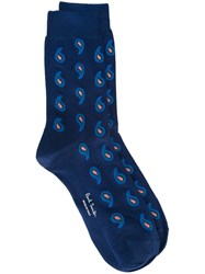 Paul Smith Paisley Print Socks Blue