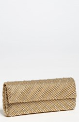 Whiting And Davis 'Crystal Chevron' Flap Clutch Metallic Gold