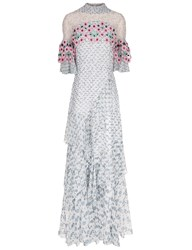 Peter Pilotto White Silk Floral Guipere Lace Gown