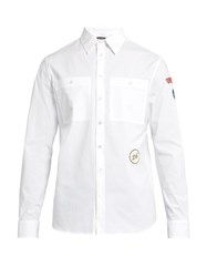 Raf Simons Scout Badge Applique Cotton Poplin Shirt White Multi