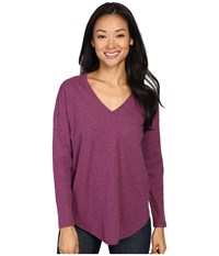 Lilla P Waffle Long Sleeve Dropped Shoulder V Neck Heather Beet Women's Clothing Red