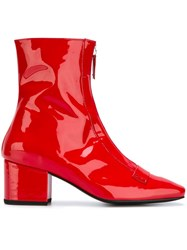 Dorateymur 'Double Delta' Ankle Boots Red