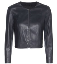 The Row Stanta Cropped Leather Jacket Blue
