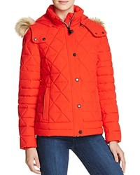 Marc New York Tess Faux Fur Trim Pyramid Down Coat Red