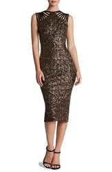 Dress The Population Women's Sequin Midi Antique Gold