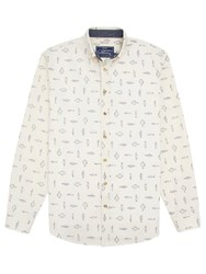 Joules Invitation Fish Print Slim Shirt Cream
