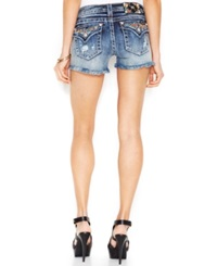 Miss Me Distressed Frayed Jean Shorts Medium Blue Wash