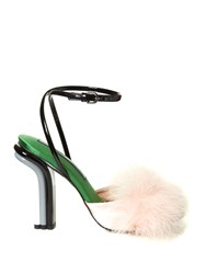 Marco De Vincenzo Feather Embellished Satin Sandals Light Pink
