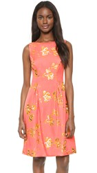 Lela Rose Full Skirt Sheath Dress Pink Orange