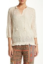 Love And Liberty 3 4 Sleeve Embroidered Silk Blouse Beige