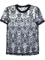 Carven Floral Embroidery Sheer Top Black