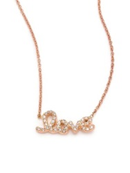 Roberto Coin Tiny Treasures Diamond And 18K Rose Gold Love Letter Necklace