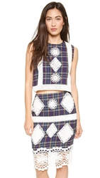 Endless Rose Plaid And Lace Crop Top Multi