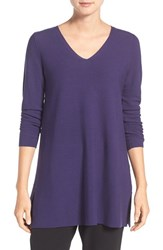 Eileen Fisher Petite Women's V Neck Organic Cotton Pullover Dark Night