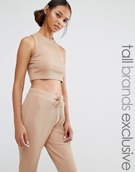 Daisy Street Tall Crop Top Co Ord Camel Tan