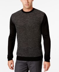 Ryan Seacrest Distinction Men's Heathered Colorblocked Sweater Only At Macy's Jet Black