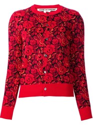 Comme Des Garcons Roses Pattern Cardigan Red